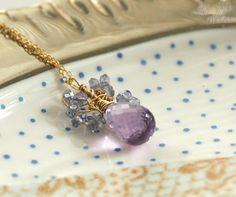 Amethyst and Iolite Wire Wrapped Necklace 14K Gold by MiriamAriano, $48.00