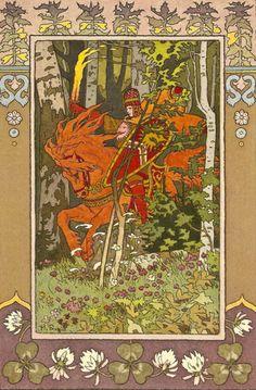 nostalgiya:  Ivan Yakovlevich Bilibin. The Red Horseman from Vasilisa the Beautiful, 1899.