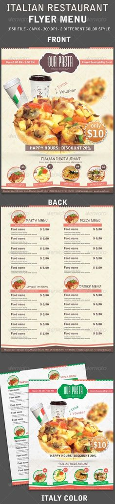Italy Restaurant Menu Flyer - #Food #Menus Print #Templates Download here: https://graphicriver.net/item/italy-restaurant-menu-flyer/3959326?ref=alena994