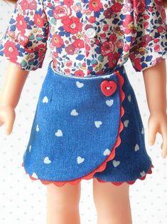 PATRON N ° 5 -Portfolio skirt - My little sewing school . Girls Skirt Patterns, Doll Clothes Patterns, Clothing Patterns, Ropa American Girl, American Girl Clothes, Barbie Dress, Barbie Clothes, Habit Barbie, Diy Ag Dolls
