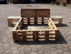 wooden pallet sturdy bed frame with nightstands