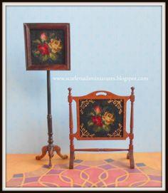 Dollhouse Miniature Petite Point Victorian Square Pole Screen and Firescreen. Natalia's Fine Needlework