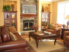 Living Room, : Charming Furniture Arrangement In Family Room Decoration With Brown Leather Single Coach Including Square Carved Wood Coffee ...