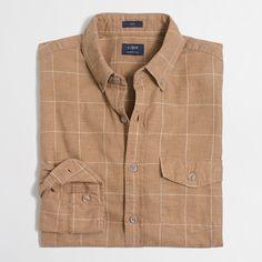 Slim brushed twill shirt : Brushed Twill | J.Crew Factory (brown / yellow) (m /l)