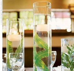 The Sea Pig: Centerpieces (Woo Hoo!) - ferns and floating candles Floating Candle Centerpieces, Simple Centerpieces, Wedding Centerpieces, Wedding Table, Centerpiece Ideas, Vases, Outdoor Wedding Decorations, Ceremony Decorations, Balloon Decorations