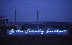 'Be there Saturday sweetheart' neon. These are words from a love letter from Jacob Epstein to Kathleen Garman (1927)