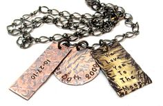 Mans Personalized Necklace - Hand stamped Mans Jewelry - Mixed Media Mixed Charms Personalized Family Charm Necklace