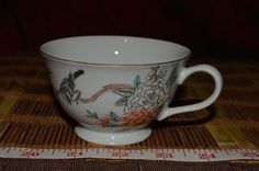 """Asian Porcelain Tea Cup Handpainted Flowers and Bird 4 1/2""""x2 1/8"""" Marked #Asian #Unknown"""