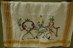 Vintage Tea Towel  Embroidered Kitschy Veggie by TheOtherGhost, $15.00