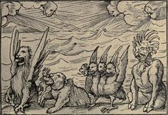"""""""... A fourth beast, dreadful and terrible..."""" Daniel's vision of the four beasts by Hans Holbein the Younger, 16th c  Bibliophilia (Daniel 7)"""