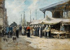 Tablouri eugene boudin - trouville, fishing market, 1875 | Tablouri celebre | tablouri canvas online