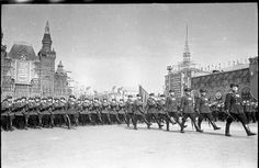 Officers and enlisted servicemen of the Soviet MVD Internal Troops marching through Red Square in the 1951 Moscow May Day Parade.