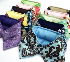 Ten Microwave Heating Pads Neck Wraps, heat therapy rice bags flax, Heat Packs, Cold Hot Packs, bulk large quantity for events, gifts. $100.00, via Etsy.
