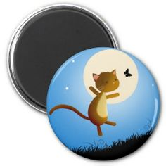 Whimsical kitty cat follow your dreams - moon magnet - Cute <3