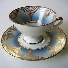 Art Deco porcelain tea cup and saucer set