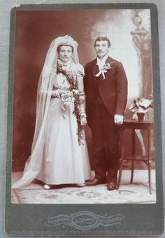 Late 1800's Antique Photo of Bride and Groom - Wedding Cabinet Card. $7.95, via Etsy.