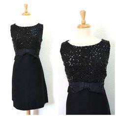1950s Black Cocktail Dress Sequins Audrey Hepburn Knee Length Sleeveless Wiggle Dress with Bow Medium