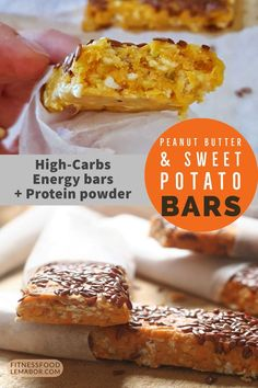 Peanut butter and sweet potato energy bars. protein powder bars for a quick snack. these bars are low cost, gooey and moist. High Protein Desserts, Protein Bar Recipes, Protein Snacks, Healthy Recipes, Healthy Snacks, Peanut Butter Protein Bars, Best Protein Bars, Energy Snacks, Energy Bars