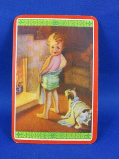 Vintage Woolworths Swap Card - Boy and puppy by the fire SOLD FOR $49.00