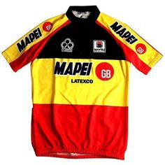 Tom Steels won the Belgian Championships in 1997 for Mapei GB. This was his #CyclingJersey for the rest of the year and the 1998 season. Yellow is dominant!  _________________   #TheCyclingJerseys | #CyclingJerseys | #CyclingKit | #CyclingKits | #BikeKit | #BikeKits | #RoadCycling | #Cycling | #CyclingStyle | #TeamKit | #BelgianChampion  #LeTour | #Giro | #LaVuelta | #UCI | #TomSteels