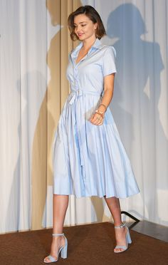 20 June 2016 - Miranda Kerr made a case for one-tone dressing in powder blue at an event in Tokyo.   - HarpersBAZAAR.co.uk
