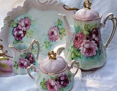 Exquisite Hand Painted Porcelain Rose Tea Set...In The Style of Old Limoges