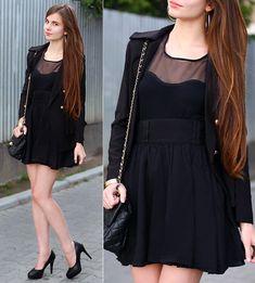Romwe Black Top, H&M Black Skirt, Embis Black Leather Heels, Black Bag With Chain, Romwe Black Blazer