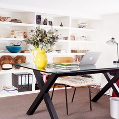 Desk in colorful Paris home