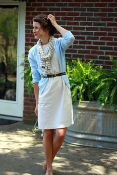 love the whole outfit.. especially the robin egg blue sweater!