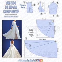 Wedding Dress Sewing Patterns, Barbie Sewing Patterns, Clothing Patterns, Dress Patterns, Diy Party Dress, Diy Gown, Diy Ken Doll Clothes, Sewing Clothes, Textile Manipulation