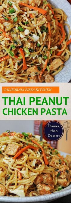 CPK Thai Peanut Chicken Pasta – Dinner, then Dessert California Pizza Kitchen Copycat Thai Chicken Pasta is full of chicken, vegetables, and a honey-peanut sauce full of umami. Easy to make at home, put the take-out menus away! Asian Recipes, New Recipes, Dinner Recipes, Cooking Recipes, Healthy Recipes, Favorite Recipes, Dinner Ideas, Thai Recipes, Thai Chicken Recipes