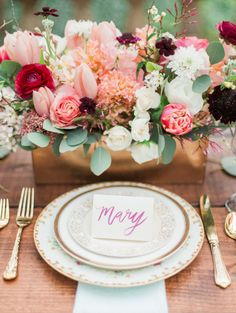 Romantic garden wedding tabletop with vintage mismatched china and gold flatware @Laguna Gloria. Rentals and styling by Birch & Brass Vintage Rentals in Austin, TX. Photography by @Kate Anfinson.