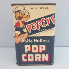 Vintage Popeye Brand White POP CORN Advertising Tin Can Container