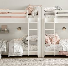 This unique shared girls room is truly a formidable style theme. Bunk Beds For Girls Room, Bunk Bed Rooms, Bunk Beds With Stairs, Teen Girl Bedrooms, Kid Rooms, Teen Bedroom, Small Rooms, Small Space, Fantasy Bedroom