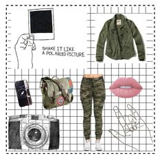 """""""Army"""" by annamelanie ❤ liked on Polyvore featuring Hollister Co., Marvel, Lime Crime and Chicnova Fashion"""
