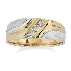 Men's 10k Two-Tone Gold Polished and Brushed Finish with Diamond-Accent Ring (0.15 cttw, H-I Color, I1-I2 Clarity), Size 11  http://electmejewellery.com/jewelry/mens-jewelry/mens-rings/men39s-10k-twotone-gold-polished-and-brushed-finish-with-diamondaccent-ring-015-cttw-hi-color-i1i2-clarity-size-11-com/