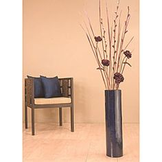 overstock cylinder shaped floor vase is handcrafted from natural bamboo decorative accessory features - Decorative Floor Vases