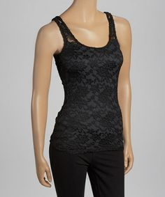 Take a look at this Black Lace Tank by Last Tango on #zulily today!