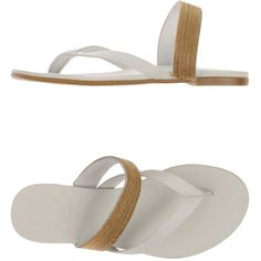 Kg Kurt Geiger Thong Sandal ($72) ❤ liked on Polyvore featuring shoes, sandals, white, white flat shoes, toe post sandals, white leather sandals, white flat sandals and leather thong sandals