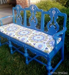 I love this! Old dining room chairs recycled to be a garden bench.