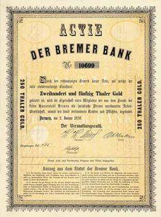 Bremer Bank Actie 250 Thaler Gold 2.1.1858. Gründeraktie (Auflage 20000, R 10).