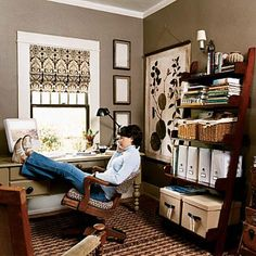A warm and inviting new office!  A simple, inexpensive redo transformed the 8- x 13-foot nook into a cozy library-like home office that really works.