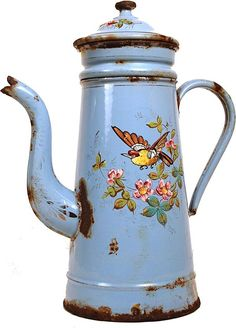 Antique French Hand-Painted Enamel Biggins Cafetiere circa 1890, Shop Rubylane.com Shabby Cottage, Shabby Chic, Kitchen Ornaments, Vintage Enamelware, Cafetiere, Teapots And Cups, Vintage Kitchen Decor, French Country House, Vintage Coffee