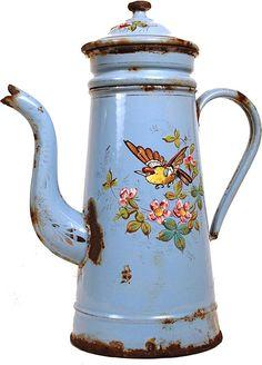 Antique French Hand-Painted Enamel Biggins Cafetiere circa 1890, Shop Rubylane.com