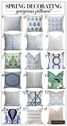 Home Remodel Old Houses A roundup of gorgeous Spring pillows you'll love! Decorative Pillows, Decor Pillows, Throw Pillows, Diy Pillow Covers, E Design, Design Patterns, Interior Design, Hippie Home Decor, Spring Home