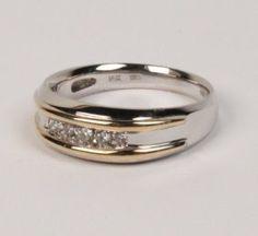 14K WHITE GOLD DIAMOND MAN'S RING