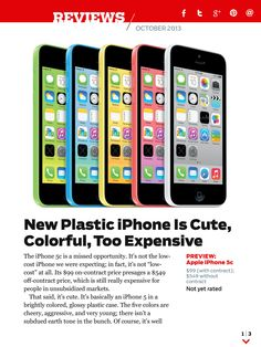 The new plastic iPhone 5C is cute, colorful, and too expensive. Read our analyst's full review in the October issue of PC Magazine, available now.