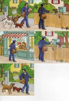 Mailman and dogs. Speech Language Therapy, Speech And Language, Speech Therapy, Sequencing Worksheets, Sequencing Cards, Story Sequencing Pictures, Exam Pictures, Picture Comprehension, Picture Composition