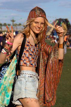 Coachella 2012 #HanneGabby #offduty #model #streetstyle #style #modelo #print #estampado #estilo #calle