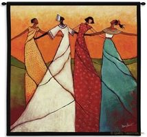 Unity Women of Color Wall Tapestry C-3577, 3577-Wh, 3577C, 3577Wh, 50-59Inchestall, 50-59Incheswide, 53H, 53W, Art, Black, Blue, Carolina, USAwoven, Color, Cotton, Folks, Green, Hanging, Lady, Man, Mixed, Of, Orange, People, Person, Persons, Red, Square, Tapestries, Tapestry, Unity, Wall, White, Woman, Women, Woven, Yellow